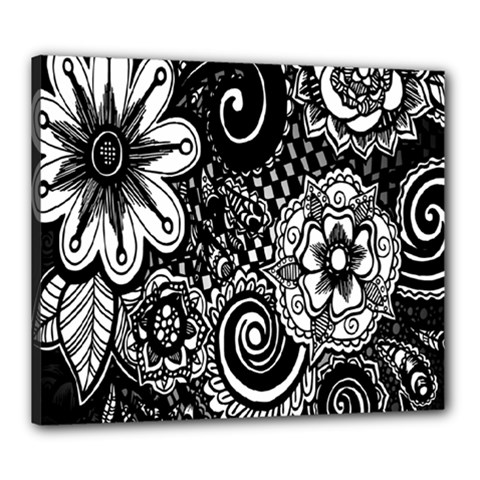 Black White Flower Canvas 24  X 20  by Jojostore