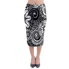 Black White Flower Midi Pencil Skirt by Jojostore