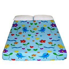 Blue Cute Birds And Flowers  Fitted Sheet (california King Size) by Valentinaart