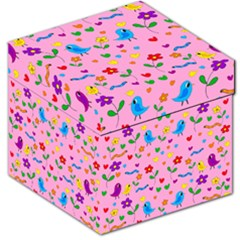 Pink Cute Birds And Flowers Pattern Storage Stool 12   by Valentinaart