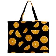 Oranges Pattern   Black Medium Tote Bag by Valentinaart