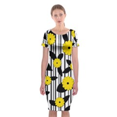 Yellow Floral Pattern Classic Short Sleeve Midi Dress by Valentinaart