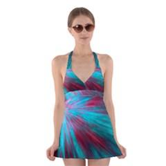 Background Texture Pattern Design Halter Swimsuit Dress by Amaryn4rt