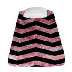 Chevron3 Black Marble & Red & White Marble Fitted Sheet (single Size)