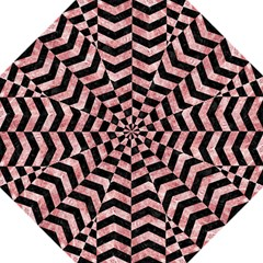 Chevron2 Black Marble & Red & White Marble Hook Handle Umbrella (large) by trendistuff