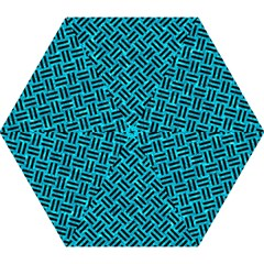 Woven2 Black Marble & Turquoise Marble (r) Mini Folding Umbrella by trendistuff