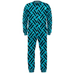 Woven2 Black Marble & Turquoise Marble (r) Onepiece Jumpsuit (men) by trendistuff