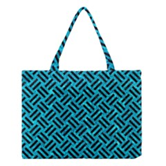 Woven2 Black Marble & Turquoise Marble (r) Medium Tote Bag by trendistuff