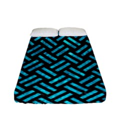 Woven2 Black Marble & Turquoise Marble Fitted Sheet (full/ Double Size) by trendistuff