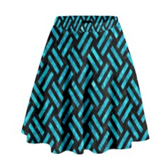 Woven2 Black Marble & Turquoise Marble High Waist Skirt by trendistuff