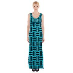 Woven1 Black Marble & Turquoise Marble (r) Maxi Thigh Split Dress by trendistuff