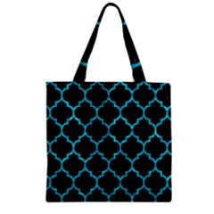 Tile1 Black Marble & Turquoise Marble Zipper Grocery Tote Bag by trendistuff