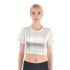 Line Yellow Purple Green Cotton Crop Top by Jojostore