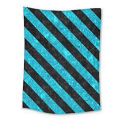 Stripes3 Black Marble & Turquoise Marble (r) Medium Tapestry