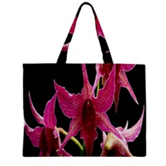 Orchid Flower Branch Pink Exotic Black Zipper Mini Tote Bag by Jojostore