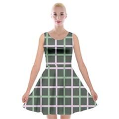 Pink And Green Tiles On Dark Green Velvet Skater Dress