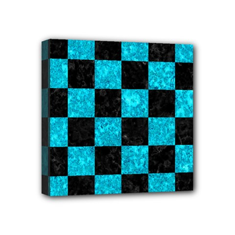 Square1 Black Marble & Turquoise Marble Mini Canvas 4  X 4  (stretched) by trendistuff