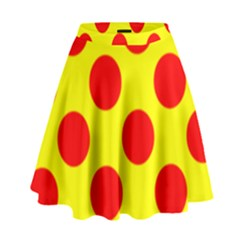 Red Circle Yellow High Waist Skirt by Jojostore