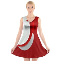 Red White V Neck Sleeveless Skater Dress by Jojostore