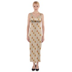 Christmas Wrapping Paper Fitted Maxi Dress by Amaryn4rt