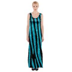 Skin4 Black Marble & Turquoise Marble (r) Maxi Thigh Split Dress by trendistuff