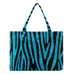 Skin4 Black Marble & Turquoise Marble (r) Medium Tote Bag by trendistuff