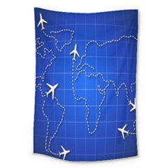 Unique Air Travel World Map Blue Sky Large Tapestry by Jojostore