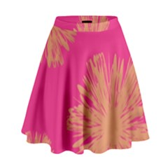 Yellow Flowers On Pink Background Pink High Waist Skirt by Jojostore