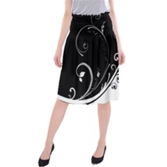 Flower Black White Midi Beach Skirt by Jojostore