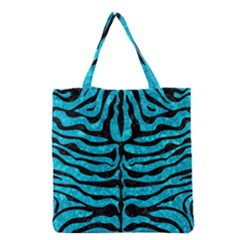 Skin2 Black Marble & Turquoise Marble (r) Grocery Tote Bag by trendistuff