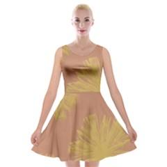 Flower Yellow Brown Velvet Skater Dress