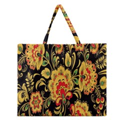 Flower Yellow Green Red Zipper Large Tote Bag by Jojostore