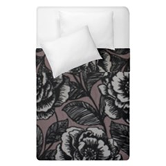 Gray Flower Rose Duvet Cover Double Side (single Size) by Jojostore