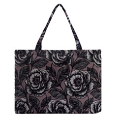 Gray Flower Rose Medium Zipper Tote Bag by Jojostore