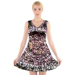 Mosaic Colorful Abstract Circular V-Neck Sleeveless Skater Dress