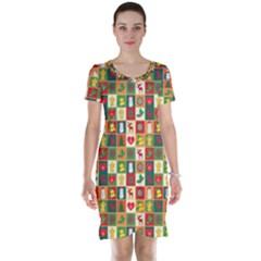 Pattern Christmas Patterns Short Sleeve Nightdress
