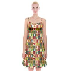 Pattern Christmas Patterns Spaghetti Strap Velvet Dress by Amaryn4rt