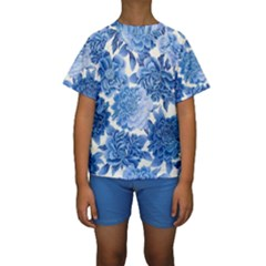Blue Flowers Kids  Short Sleeve Swimwear by Brittlevirginclothing