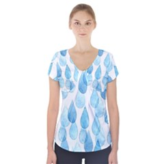 Rain Drops Short Sleeve Front Detail Top by Brittlevirginclothing