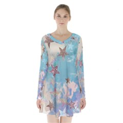 Pastel stars Long Sleeve Velvet V-neck Dress