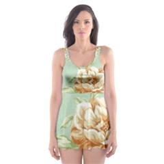 Vintage Pastel Flowers Skater Dress Swimsuit by Brittlevirginclothing