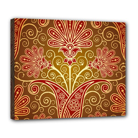 European Fine Batik Flower Brown Deluxe Canvas 24  X 20   by Jojostore