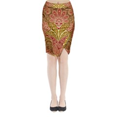 European Fine Batik Flower Brown Midi Wrap Pencil Skirt by Jojostore