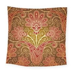European Fine Batik Flower Brown Square Tapestry (large)