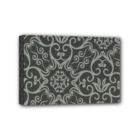 Flower Batik Gray Mini Canvas 6  X 4  by Jojostore
