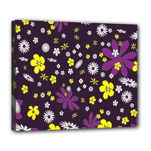 Floral Purple Flower Yellow Deluxe Canvas 24  X 20   by Jojostore