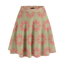 Flower Pink High Waist Skirt by Jojostore