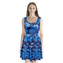 Flower Blue Split Back Mini Dress