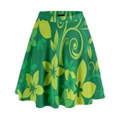Flower Yellow Green High Waist Skirt by Jojostore