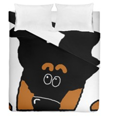 Peeping Miniature Pinscher Duvet Cover Double Side (Queen Size) by TailWags